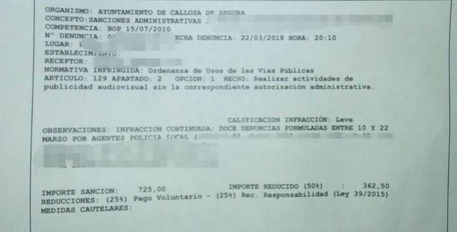 sanción impuesta por el Ayuntamiento a la pensionista Teresa Agulló