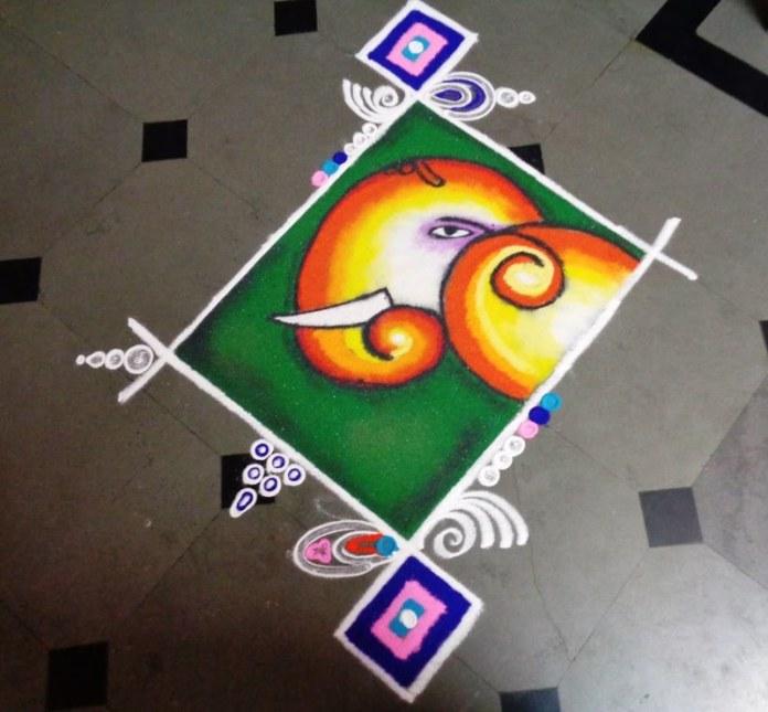 rangoli designs with dots for ganesh chaturthi