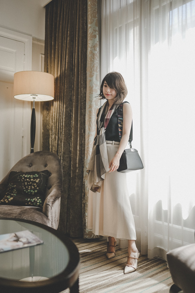 ▌Outfit ▌萬豪穿搭(誤):Malone Souliers Maureen + Theory 寬褲 + Gucci珍珠細皮帶