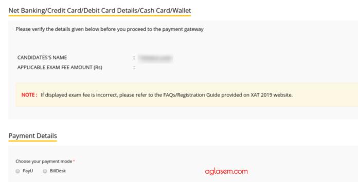 XAT 2019 Payement