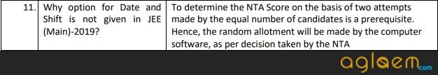 NTA FAQ DATE AND SHIFT