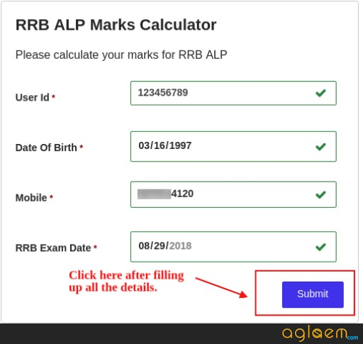 RRB MARKS CALCULATOR