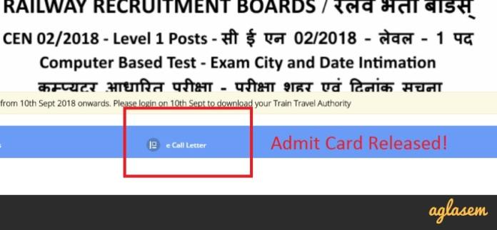 RRB Group D Admit Card 2018 Live Updates