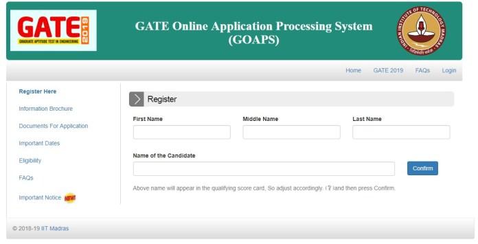 GATE 2019 Registration