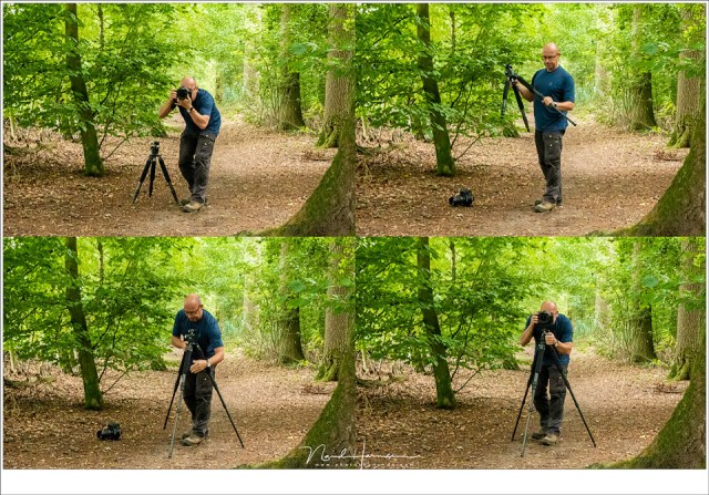 Als je de hoogte en plek van waaruit je de foto wilt maken, weet je hoe en waar het statief moet staan. Dan leg je de camera aan de kant, zet het statief op de juiste hoogte op, en plaats je de camera. Dan ben je direct klaar met het opzetten en kun je de foto maken.