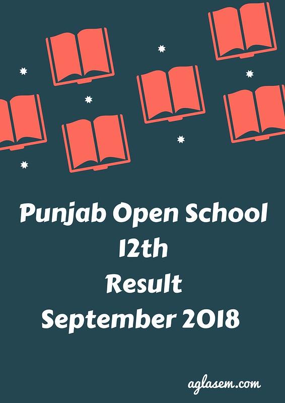 Punjab Open School 12th Result September 2018