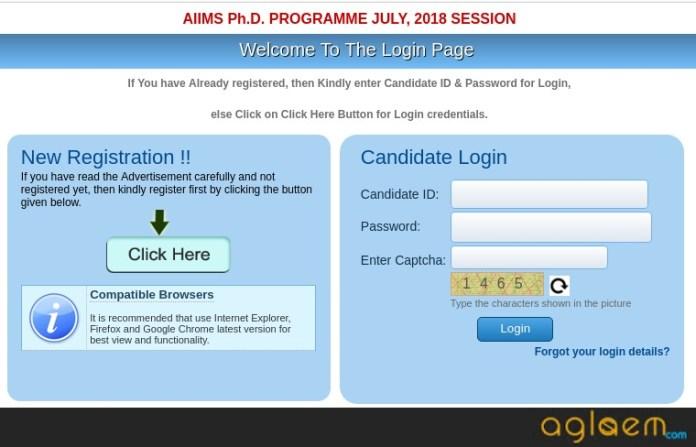 AIIMS PhD 2018 registration