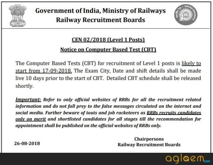 Railway Says RRB Group D 2018 Exam to Start from 17 September