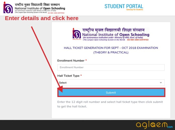 NIOS Hall Ticket 2018