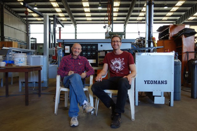 allan yeomans and lucas ihlein in front of the Yeomans Carbon Still