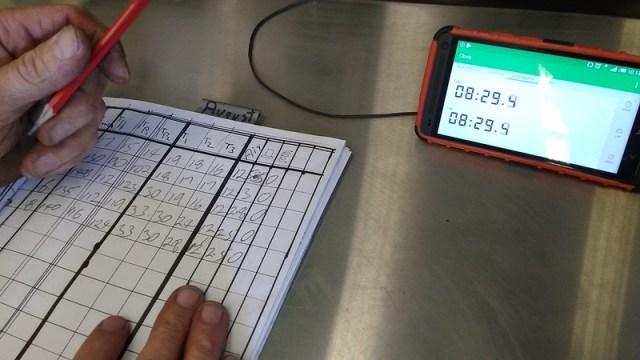 darren entering data into the spreadsheet