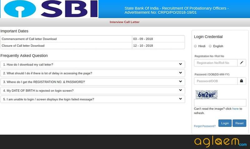 Login window of SBI admit card