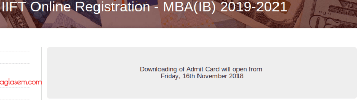 IIFT 2019 Admit Card Date