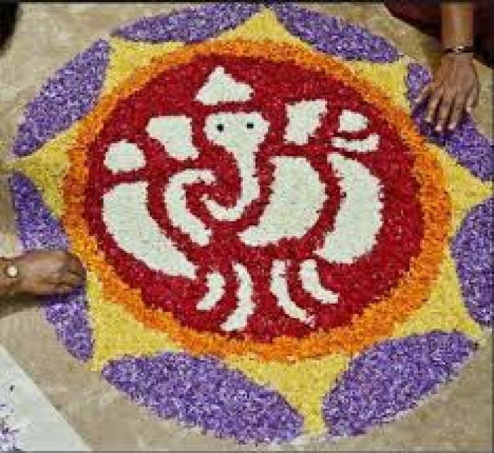 simple ganesh rangoli designs for competition