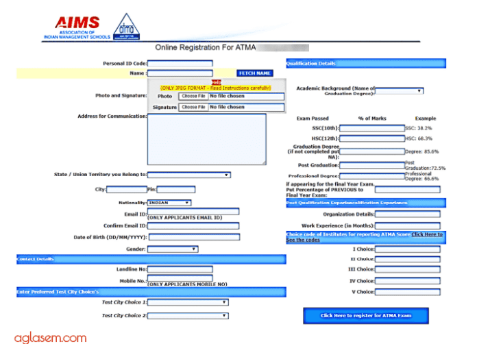 ATMA 2019 Application Form