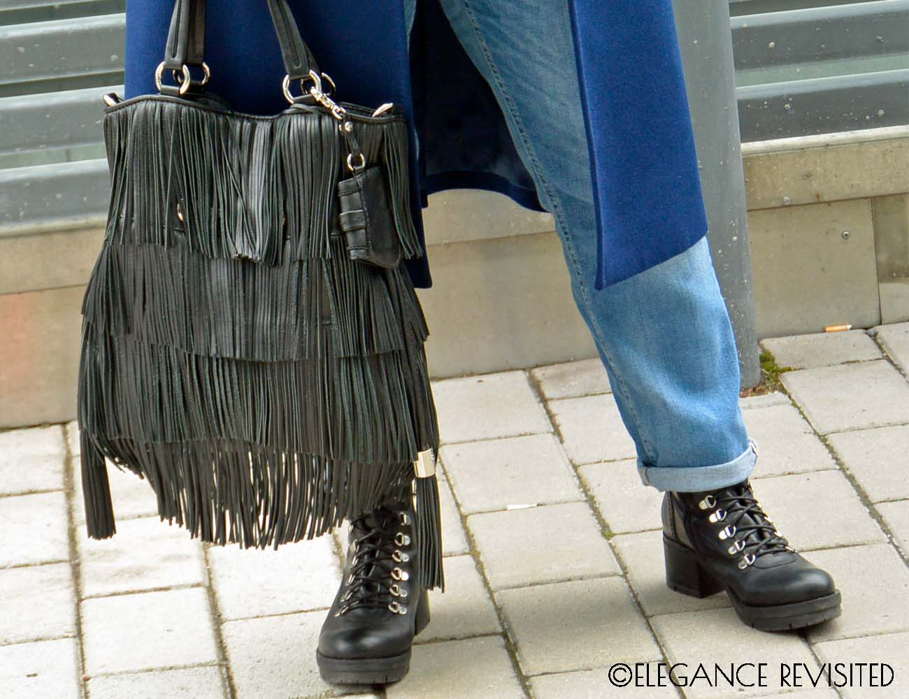 fringe bad and lace-up boots