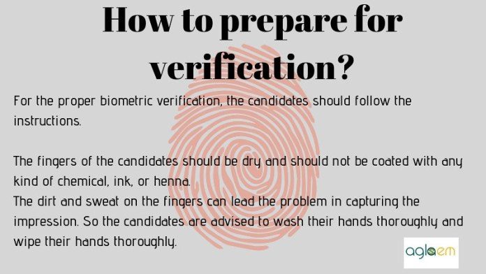 Intructions for the biometric verfication.