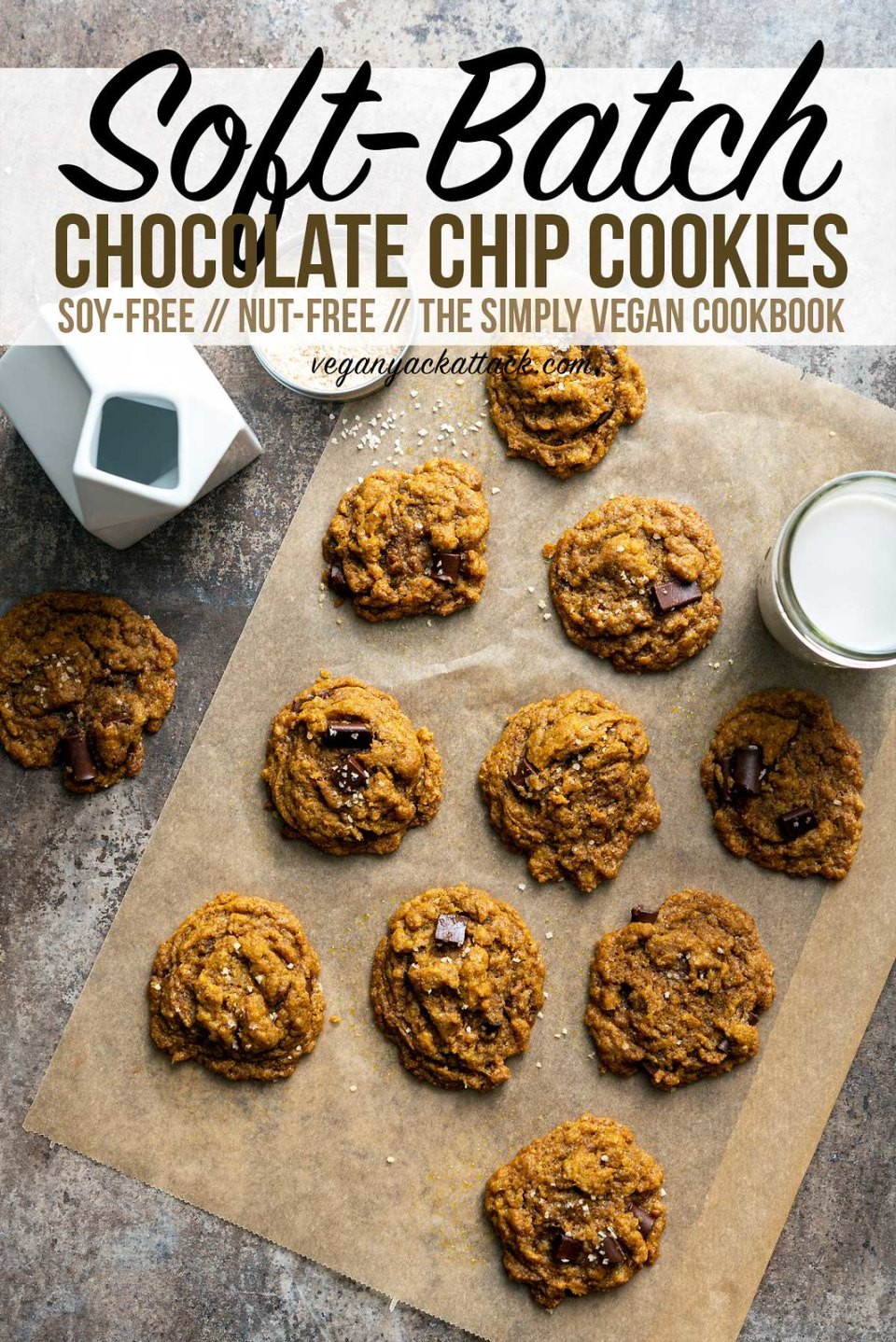 What better way to cheer up your family and friends than with fresh, vegan, Soft-Batch Chocolate Chip Cookies? Make sure to snag a few for yourself before handing them out! ;) #vegan #cookies
