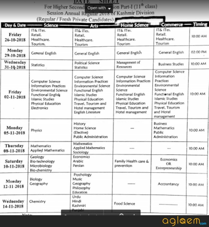 JKBOSE 11th Annual Regular Date Sheet for Kashmir Division