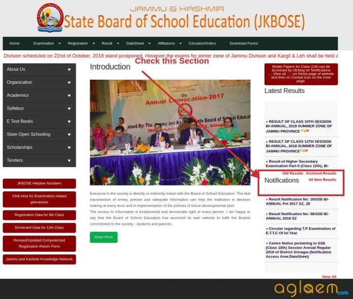 JKBOSE 12th Date Sheet for Annual Regular Session of Kashmir Division