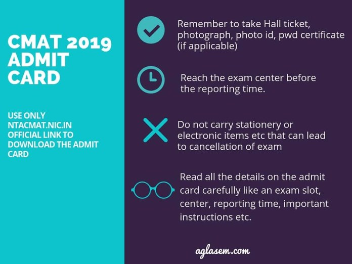 CMAT Admit Card 2019 Important Instructions
