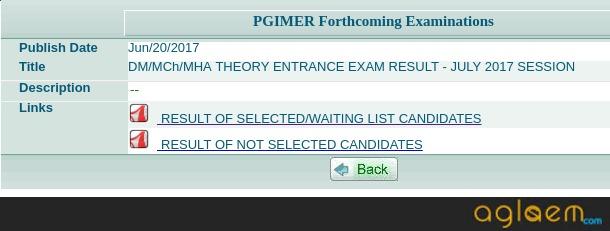 PGIMER 2019 Result (Announced)   Check Here Result for PGIMER January 2019   PGIMER July 2019