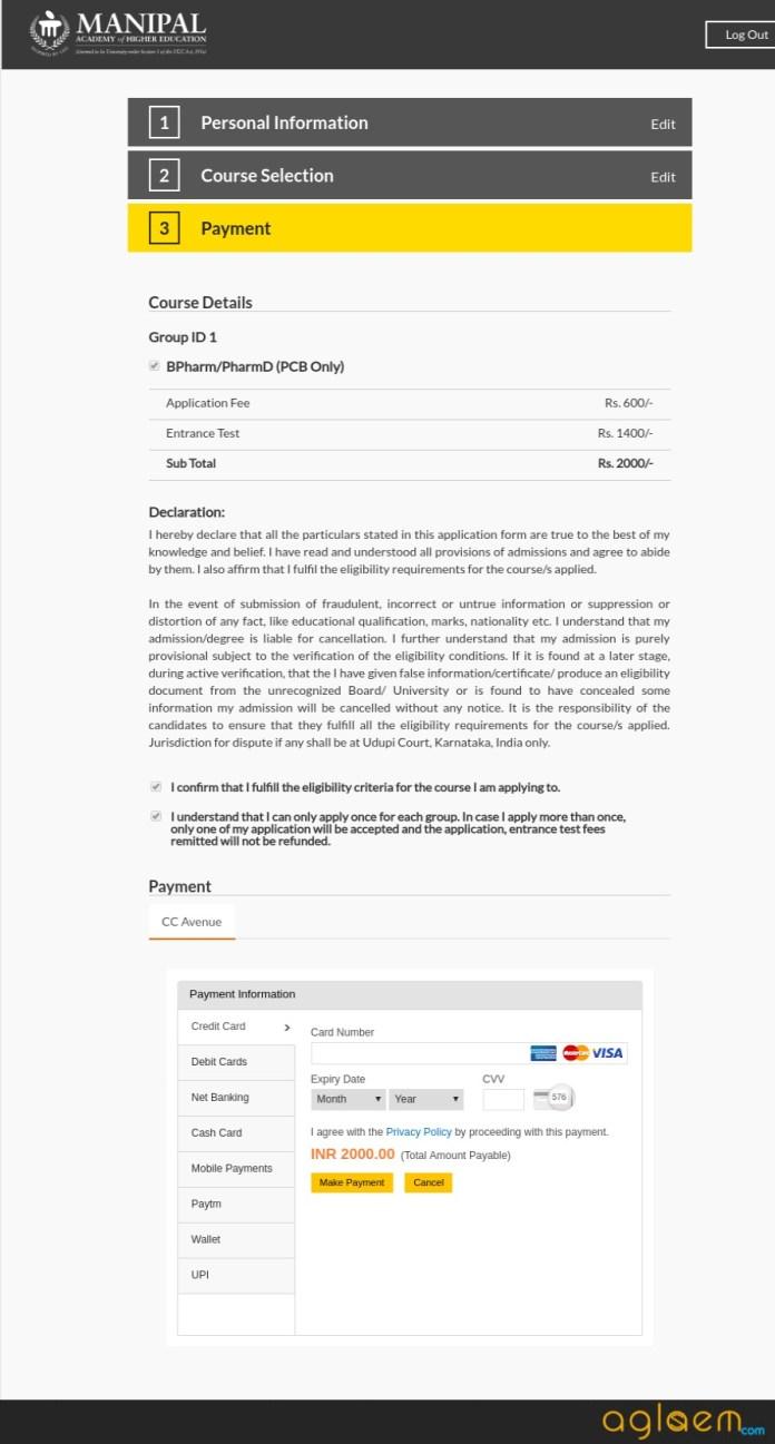 Manipal University B.Pharm Admission 2019
