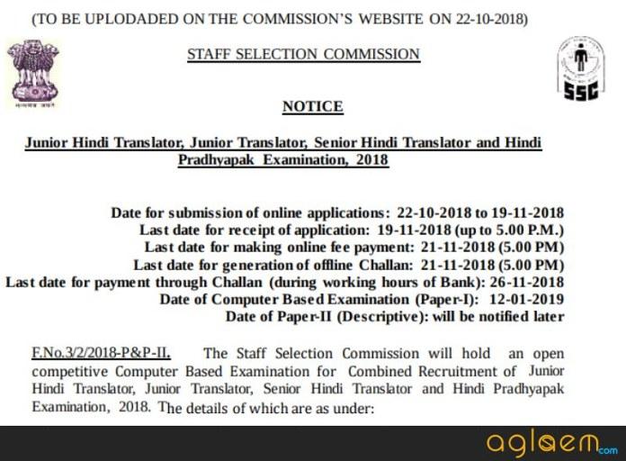 Snapshot of notification of SSC JHT 2018