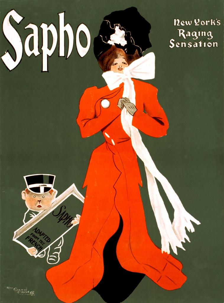 Sapho New York S Raging Sensation Broadway Poster 1900