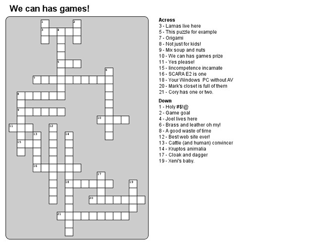 BB We Can Has Games Crossword Puzzle Contest Submission