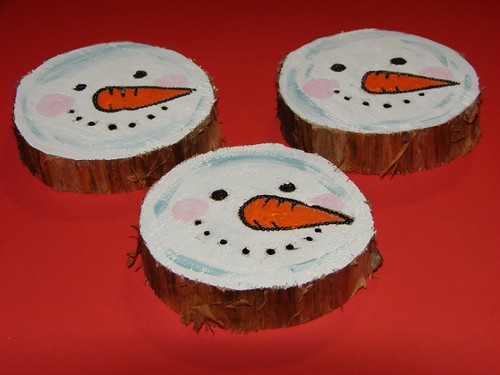 Recycled Tree Stump Snowmen Ornaments 3 These Ornaments