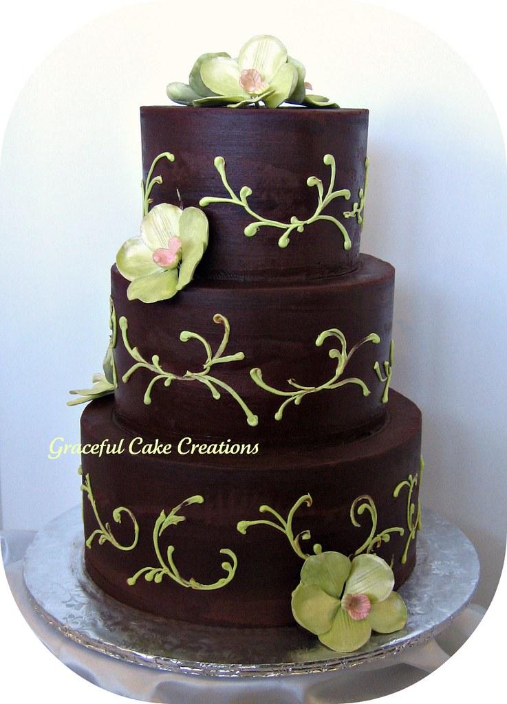Chocolate Brown And Green Wedding Cake Grace Tari Flickr