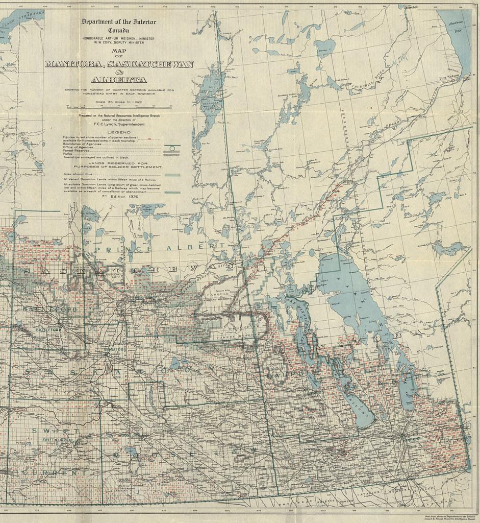 Manitoba Amp Saskatchewan Section Of Map Showing The Number