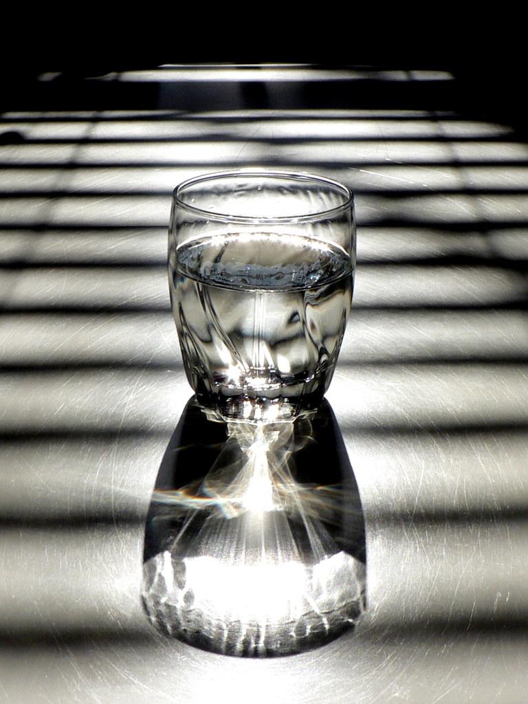 Glass Water Light Shadow Sunlight Through The
