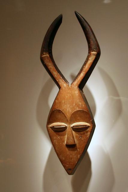 Mask Kwele Peoples Gabon Early 20th Century Wood Pigm