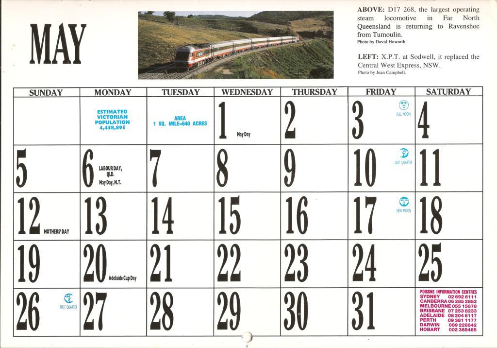 1996ATC0011 May Page 1996 Australian Trains Calendar