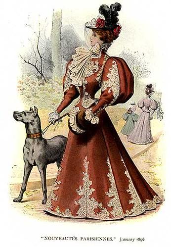1896 Fashion Plate Feat Leg O Mutton Sleeves