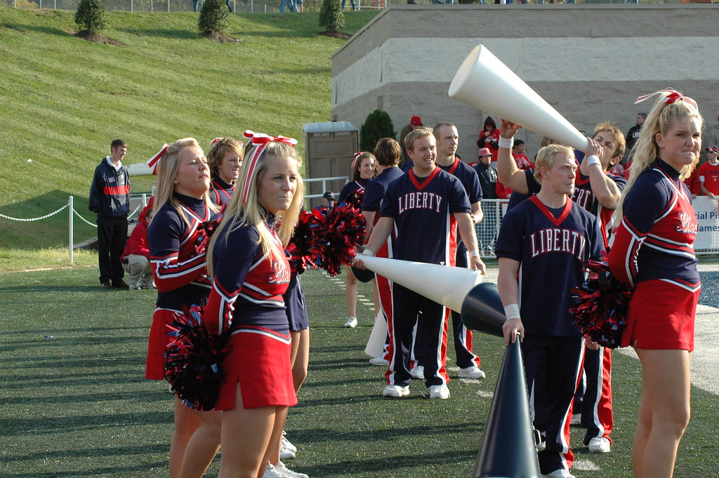 Cheerleaders With Megaphones See Other Photos Of Liberty