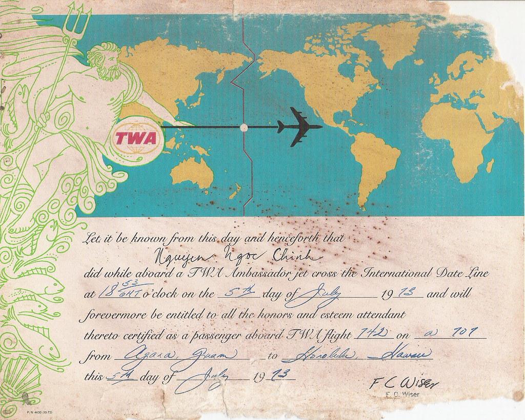 Twa S International Date Line Crossing Certificate