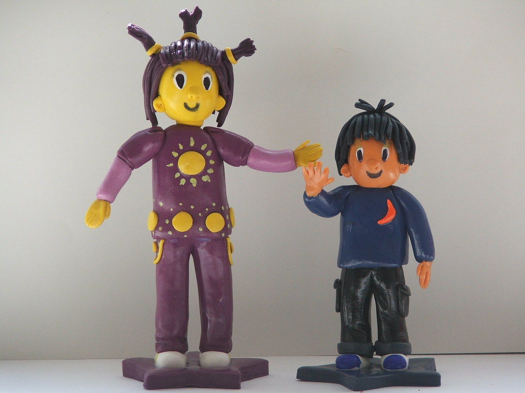 Birthday Cake Toppers Of Jim Jam And Sunny Fimo Figurines