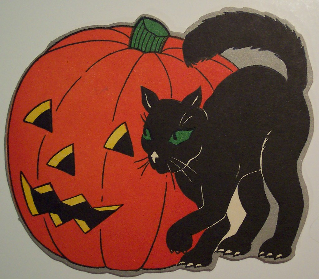 Vintage Halloween Cut Out Cat And Jack O Lantern