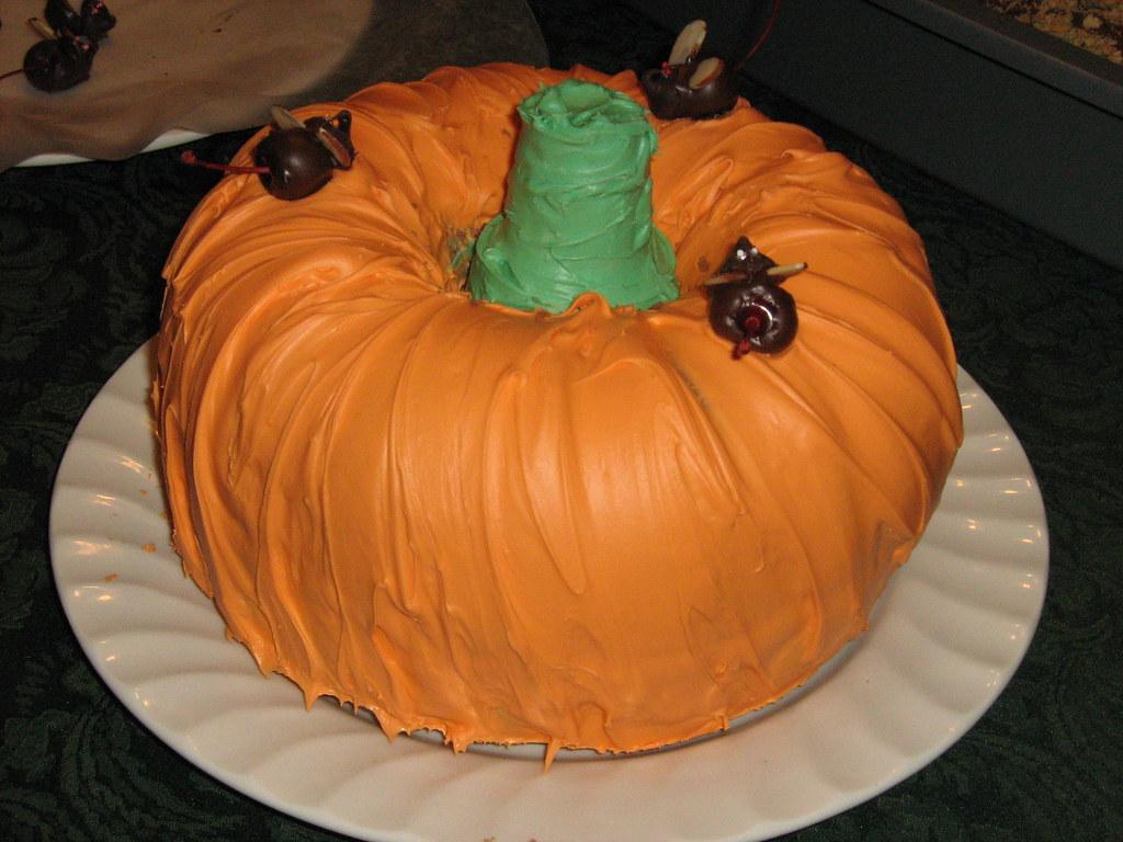 Halloween Food Pumpkin Cake Wchocolate Mice Two Bundt