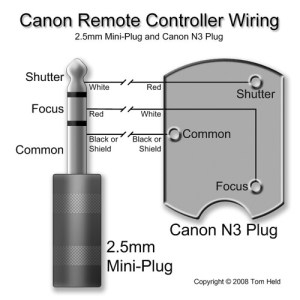 Canon Remote Controller Wiring (25mm miniplug and N3 plu