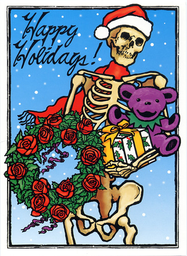 Grateful Dead Santa Skeleton With A Dancing Bear Merry
