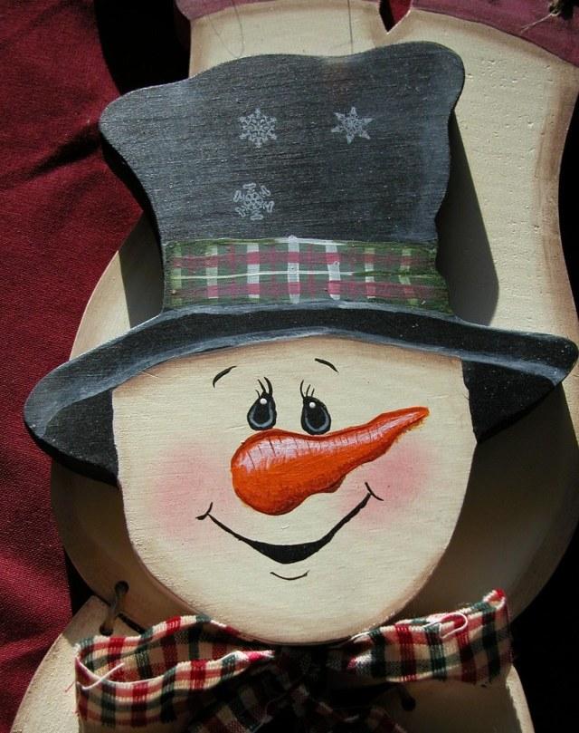 Painted Snowman wooden crafts upsidedown wodden handpainte…   Flickr