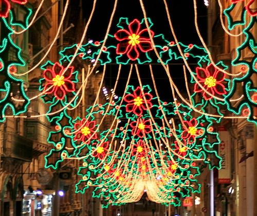 Merry Christmas Street Lights Republic Steet Valetta