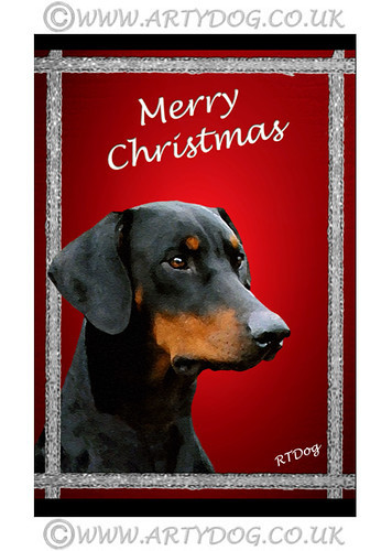 Doberman Christmas Card Doberman Christmas Greeting Card