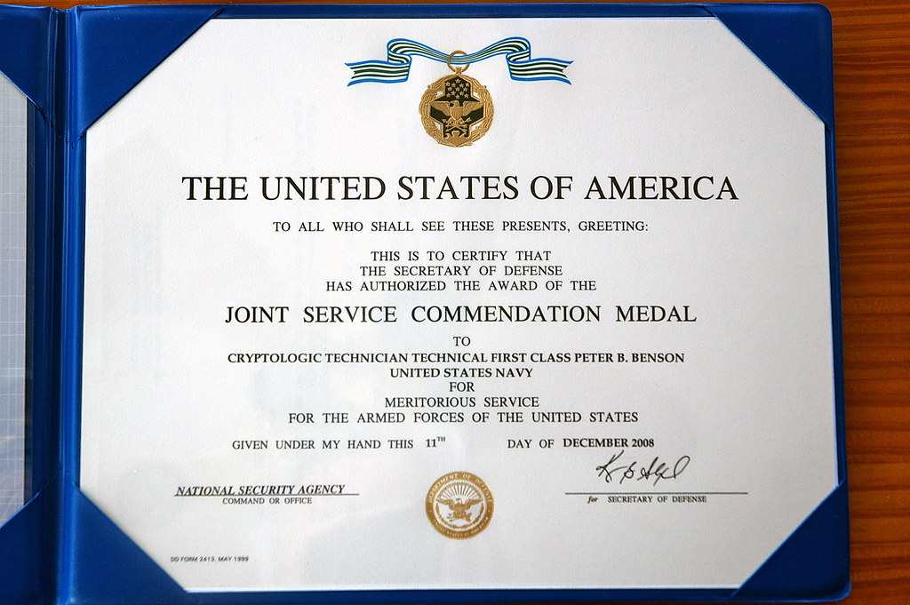Army commendation medal examples