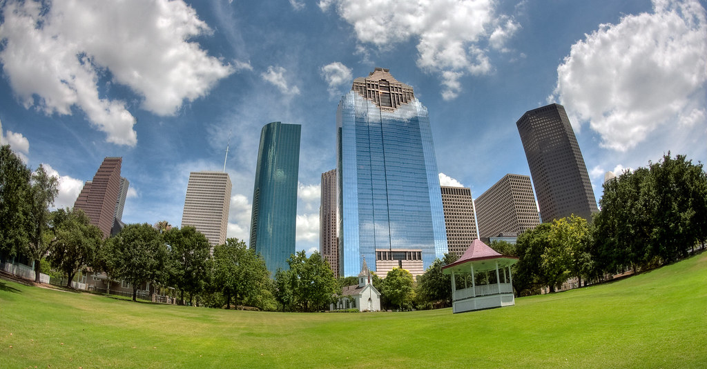 The Houston Skyline From Sam Houston Park Best Viewed On