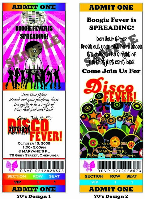 70s Disco Party Ticket Invitation 70s Disco Party Pick